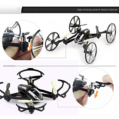 Babrit Elite 6-Axis Gyro RC Quadcopter 2.4Ghz 4-in-1 RC Drone Quadcopter RC Flying Car Remote Control Drone with HD Camera - Black