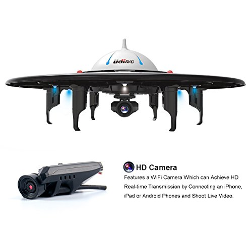 UDI U845 WiFi FPV Drone with HD Camera - Includes BONUS BATTERY - 2.4GHz 4CH 6 Axis Gyro RTF UFO RC Quadcopter with Headless Mode Gravity Induction and Low Voltage Alarm